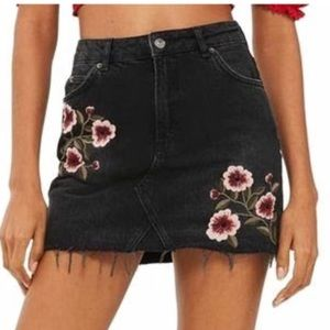 NWT- Topshop embroidered floral denim skirt